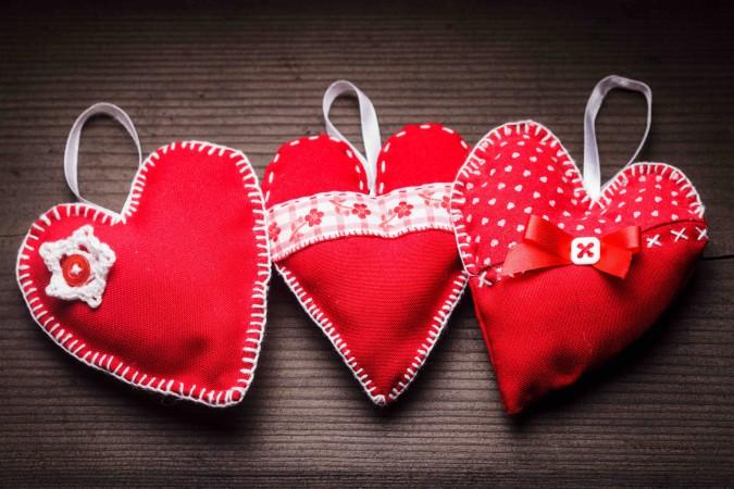 Handmade red hearts